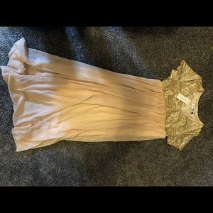 Gold and beige maternity dress